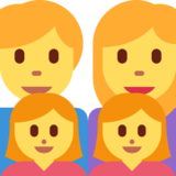 Family: Man, Woman, Girl, Girl on Twitter Twemoji 2.0