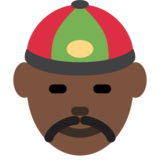 Man With Chinese Cap: Dark Skin Tone on Twitter Twemoji 2.0