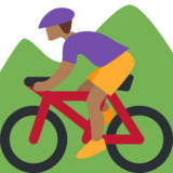 Person Mountain Biking: Medium-Dark Skin Tone on Twitter Twemoji 2.0
