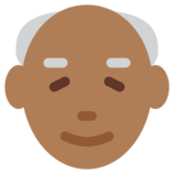 Old Man: Medium-Dark Skin Tone on Twitter Twemoji 2.0