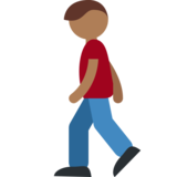 Person Walking: Medium-Dark Skin Tone on Twitter Twemoji 2.0