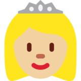 Princess: Medium-Light Skin Tone on Twitter Twemoji 2.0