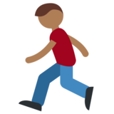 Person Running: Medium-Dark Skin Tone on Twitter Twemoji 2.0