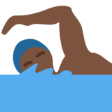 Person Swimming: Dark Skin Tone on Twitter Twemoji 2.0