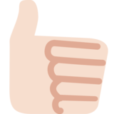 Thumbs Up: Light Skin Tone on Twitter Twemoji 2.0
