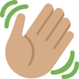 Waving Hand: Medium Skin Tone on Twitter Twemoji 2.0