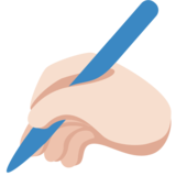 Writing Hand: Light Skin Tone on Twitter Twemoji 2.0