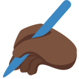 Writing Hand: Dark Skin Tone on Twitter Twemoji 2.0