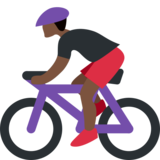 Person Biking: Dark Skin Tone on Twitter Twemoji 2.1