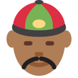 Man With Chinese Cap: Medium-Dark Skin Tone on Twitter Twemoji 2.1