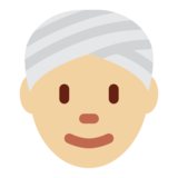 Person Wearing Turban: Medium-Light Skin Tone on Twitter Twemoji 2.1
