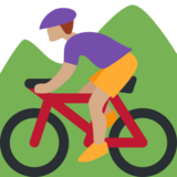 Person Mountain Biking: Medium Skin Tone on Twitter Twemoji 2.1