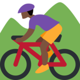 Person Mountain Biking: Dark Skin Tone on Twitter Twemoji 2.1