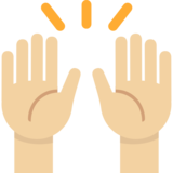 Raising Hands: Medium-Light Skin Tone on Twitter Twemoji 2.1