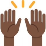 Raising Hands: Dark Skin Tone on Twitter Twemoji 2.1