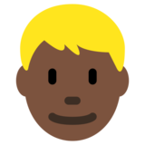 Person: Dark Skin Tone, Blond Hair on Twitter Twemoji 2.1