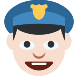 Police Officer: Light Skin Tone on Twitter Twemoji 2.1