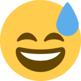 Grinning Face With Sweat on Twitter Twemoji 2.1