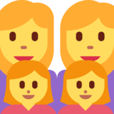Family: Woman, Woman, Girl, Girl on Twitter Twemoji 2.1.2