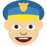 Police Officer: Medium-Light Skin Tone on Twitter Twemoji 2.1.2