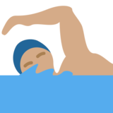 Person Swimming: Medium Skin Tone on Twitter Twemoji 2.1.2