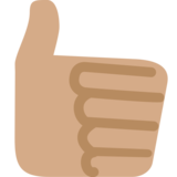 Thumbs Up: Medium Skin Tone on Twitter Twemoji 2.1.2
