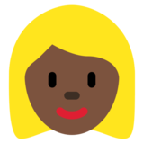 Woman: Dark Skin Tone, Blond Hair on Twitter Twemoji 2.2