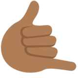 Call Me Hand: Medium-Dark Skin Tone on Twitter Twemoji 2.2