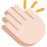 Clapping Hands: Light Skin Tone on Twitter Twemoji 2.2