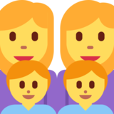 Family: Woman, Woman, Boy, Boy on Twitter Twemoji 2.2
