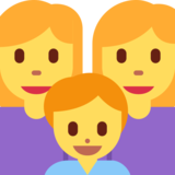 Family: Woman, Woman, Boy on Twitter Twemoji 2.2