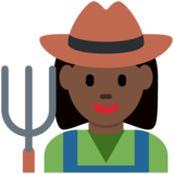 Woman Farmer: Dark Skin Tone on Twitter Twemoji 2.2
