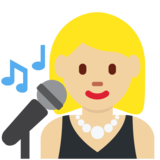 Woman Singer: Medium-Light Skin Tone on Twitter Twemoji 2.2