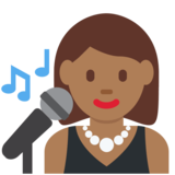 Woman Singer: Medium-Dark Skin Tone on Twitter Twemoji 2.2