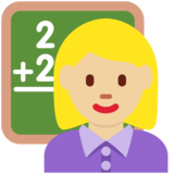 Woman Teacher: Medium-Light Skin Tone on Twitter Twemoji 2.2