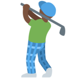Person Golfing: Dark Skin Tone on Twitter Twemoji 2.2