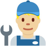 Man Mechanic: Medium-Light Skin Tone on Twitter Twemoji 2.2