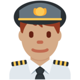 Man Pilot: Medium Skin Tone on Twitter Twemoji 2.2