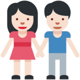 Woman and Man Holding Hands: Light Skin Tone on Twitter Twemoji 2.2
