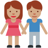 Woman and Man Holding Hands: Medium Skin Tone on Twitter Twemoji 2.2