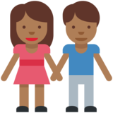 Woman and Man Holding Hands: Medium-Dark Skin Tone on Twitter Twemoji 2.2
