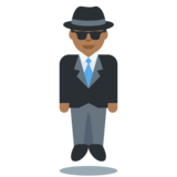 Man in Suit Levitating: Medium-Dark Skin Tone on Twitter Twemoji 2.2
