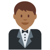 Person in Tuxedo: Medium-Dark Skin Tone on Twitter Twemoji 2.2