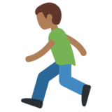 Man Running: Medium-Dark Skin Tone on Twitter Twemoji 2.2