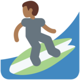 Man Surfing: Medium-Dark Skin Tone on Twitter Twemoji 2.2
