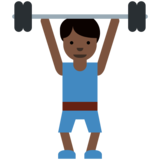 Man Lifting Weights: Dark Skin Tone on Twitter Twemoji 2.2