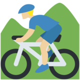 Person Mountain Biking: Medium-Light Skin Tone on Twitter Twemoji 2.2
