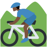 Person Mountain Biking: Dark Skin Tone on Twitter Twemoji 2.2