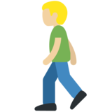 Person Walking: Medium-Light Skin Tone on Twitter Twemoji 2.2