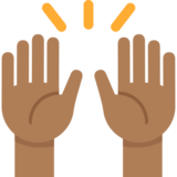 Raising Hands: Medium-Dark Skin Tone on Twitter Twemoji 2.2